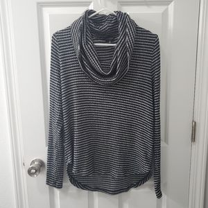 Lucky Brand Cloud Jersey Rib Striped Cowl Neck Top